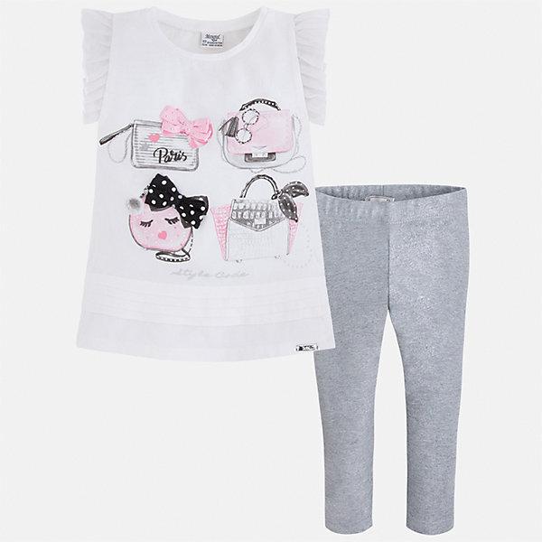 Комплект: блузка и леггинсы для девочки MayoralКомплекты<br>Характеристики товара:<br><br>• цвет: белый/серый<br>• состав: 95% хлопок, 5% эластан<br>• комплектация: футболка, леггинсы<br>• футболка декорирована принтом и оборками<br>• леггинсы однотонные<br>• пояс на резинке<br>• страна бренда: Испания<br><br>Красивый качественный комплект для девочки поможет разнообразить гардероб ребенка и удобно одеться в теплую погоду. Он отлично сочетается с другими предметами. Универсальный цвет позволяет подобрать к вещам верхнюю одежду практически любой расцветки. Интересная отделка модели делает её нарядной и оригинальной. В составе материала - натуральный хлопок, гипоаллергенный, приятный на ощупь, дышащий.<br><br>Одежда, обувь и аксессуары от испанского бренда Mayoral полюбились детям и взрослым по всему миру. Модели этой марки - стильные и удобные. Для их производства используются только безопасные, качественные материалы и фурнитура. Порадуйте ребенка модными и красивыми вещами от Mayoral! <br><br>Комплект для девочки от испанского бренда Mayoral (Майорал) можно купить в нашем интернет-магазине.<br>Ширина мм: 123; Глубина мм: 10; Высота мм: 149; Вес г: 209; Цвет: серый; Возраст от месяцев: 18; Возраст до месяцев: 24; Пол: Женский; Возраст: Детский; Размер: 92,134,128,122,116,110,104,98; SKU: 5290604;