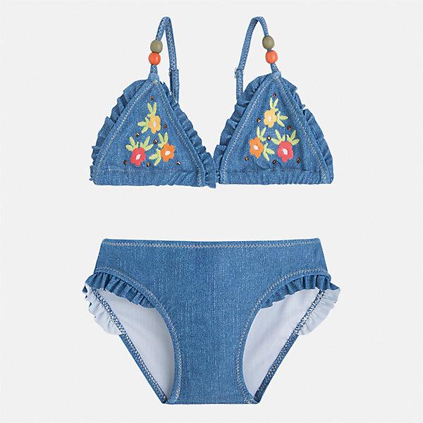 Купальник раздельный для девочки MayoralКупальники и плавки<br>Характеристики товара:<br><br>• цвет: синий джинс<br>• состав: верх - 85% полиэстер, 15% эластан<br>• декорирован оборками<br>• тип: раздельный, 2 предмета<br>• бретельки регулируются<br>• быстросохнущий материал<br>• страна бренда: Испания<br><br>Одежда для купания должна быть удобной! Этот купальник для девочки не только хорошо сидит на ребенке, не стесняя движения и не натирая, он отлично смотрится! Предметы сшиты из плотной ткани, но она очень быстро высыхает. Интересная отделка модели делает её нарядной и оригинальной. <br>Одежда, обувь и аксессуары от испанского бренда Mayoral полюбились детям и взрослым по всему миру. Модели этой марки - стильные и удобные. Для их производства используются только безопасные, качественные материалы и фурнитура. Порадуйте ребенка модными и красивыми вещами от Mayoral! <br><br>Купальник для девочки от испанского бренда Mayoral (Майорал) можно купить в нашем интернет-магазине.<br>Ширина мм: 183; Глубина мм: 60; Высота мм: 135; Вес г: 119; Цвет: голубой; Возраст от месяцев: 84; Возраст до месяцев: 96; Пол: Женский; Возраст: Детский; Размер: 110,104,98,134,128,92,122,116; SKU: 5290685;