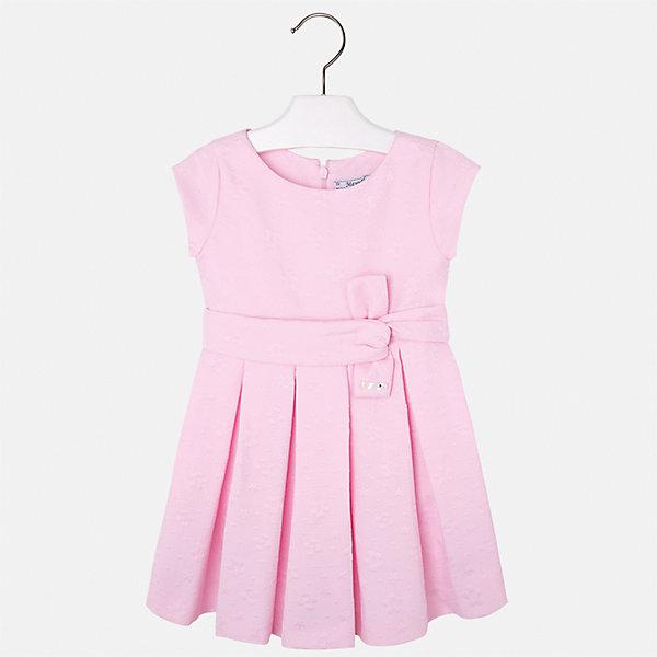 Платье для девочки MayoralОдежда<br>Характеристики товара:<br><br>• цвет: розовый<br>• состав: 38% полиэстер, 62% хлопок, подкладка - 65% полиэстер, 35% хлопок<br>• застежка: молния<br>• складки<br>• украшено бантом на поясе<br>• без рукавов<br>• с подкладкой<br>• страна бренда: Испания<br><br>Красивое легкое платье для девочки поможет разнообразить гардероб ребенка и создать эффектный наряд. Оно подойдет и для торжественных случаев, может быть и как ежедневный наряд. Красивый оттенок позволяет подобрать к вещи обувь разных расцветок. В составе материала - натуральный хлопок, гипоаллергенный, приятный на ощупь, дышащий. Платье хорошо сидит по фигуре.<br><br>Одежда, обувь и аксессуары от испанского бренда Mayoral полюбились детям и взрослым по всему миру. Модели этой марки - стильные и удобные. Для их производства используются только безопасные, качественные материалы и фурнитура. Порадуйте ребенка модными и красивыми вещами от Mayoral! <br><br>Платье для девочки от испанского бренда Mayoral (Майорал) можно купить в нашем интернет-магазине.<br>Ширина мм: 236; Глубина мм: 16; Высота мм: 184; Вес г: 177; Цвет: лиловый; Возраст от месяцев: 18; Возраст до месяцев: 24; Пол: Женский; Возраст: Детский; Размер: 92,134,128,122,116,110,104,98; SKU: 5290982;