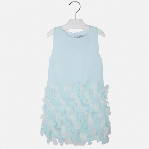 Платье для девочки MayoralОдежда<br>Характеристики товара:<br><br>• цвет: голубой<br>• состав: 100% полиэстер, подкладка - 65% полиэстер, 35% хлопок<br>• застежка: молния<br>• легкий материал<br>• объемные элементы на подоле<br>• без рукавов<br>• с подкладкой<br>• страна бренда: Испания<br><br>Эффектное платье для девочки поможет разнообразить гардероб ребенка и создать эффектный наряд. Оно отлично подойдет и для торжественных случаев. Красивый оттенок позволяет подобрать к вещи обувь разных расцветок. В составе материала подкладки - натуральный хлопок, гипоаллергенный, приятный на ощупь, дышащий. Платье хорошо сидит по фигуре.<br><br>Одежда, обувь и аксессуары от испанского бренда Mayoral полюбились детям и взрослым по всему миру. Модели этой марки - стильные и удобные. Для их производства используются только безопасные, качественные материалы и фурнитура. Порадуйте ребенка модными и красивыми вещами от Mayoral! <br><br>Платье для девочки от испанского бренда Mayoral (Майорал) можно купить в нашем интернет-магазине.<br>Ширина мм: 236; Глубина мм: 16; Высота мм: 184; Вес г: 177; Цвет: голубой; Возраст от месяцев: 36; Возраст до месяцев: 48; Пол: Женский; Возраст: Детский; Размер: 104,134,128,122,116,110,98,92; SKU: 5291162;