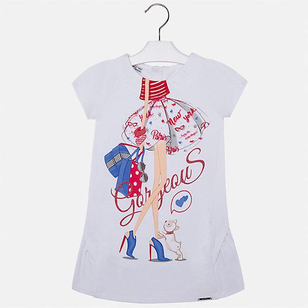 Платье для девочки MayoralЛетние платья и сарафаны<br>Характеристики товара:<br><br>• цвет: белый<br>• состав: 80% полиэстер, 15 % вискоза, 5% эластан<br>• застежка: молния<br>• короткие рукава реглан<br>• декорировано принтом<br>• металлический логотип<br>• страна бренда: Испания<br><br>Нарядное платье для девочки поможет разнообразить гардероб ребенка и создать эффектный наряд. Оно подойдет для различных случаев. Красивый оттенок позволяет подобрать к вещи обувь разных расцветок. Платье хорошо сидит по фигуре и оригинально смотрится.<br><br>Одежда, обувь и аксессуары от испанского бренда Mayoral полюбились детям и взрослым по всему миру. Модели этой марки - стильные и удобные. Для их производства используются только безопасные, качественные материалы и фурнитура. Порадуйте ребенка модными и красивыми вещами от Mayoral! <br><br>Платье для девочки от испанского бренда Mayoral (Майорал) можно купить в нашем интернет-магазине.<br>Ширина мм: 236; Глубина мм: 16; Высота мм: 184; Вес г: 177; Цвет: красный; Возраст от месяцев: 72; Возраст до месяцев: 84; Пол: Женский; Возраст: Детский; Размер: 122,116,110,104,98,134,128; SKU: 5291305;