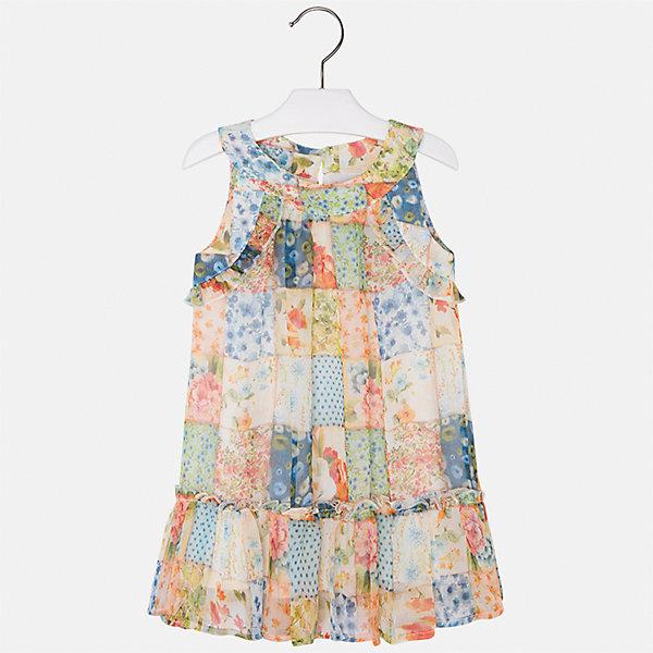 Платье для девочки MayoralПлатья и сарафаны<br>Характеристики товара:<br><br>• цвет: мультиколор<br>• состав: 100% полиэстер, подкладка - 50% полиэстер, 50% хлопок<br>• застежка: молния<br>• принт<br>• волан на подоле<br>• без рукавов<br>• с подкладкой<br>• страна бренда: Испания<br><br>Модное красивое платье для девочки поможет разнообразить гардероб ребенка и создать эффектный наряд. Оно отлично подойдет для торжественных случаев или на каждый день. Красивый оттенок позволяет подобрать к вещи обувь разных расцветок. В составе материала подкладки - натуральный хлопок, гипоаллергенный, приятный на ощупь, дышащий. Платье хорошо сидит по фигуре.<br><br>Одежда, обувь и аксессуары от испанского бренда Mayoral полюбились детям и взрослым по всему миру. Модели этой марки - стильные и удобные. Для их производства используются только безопасные, качественные материалы и фурнитура. Порадуйте ребенка модными и красивыми вещами от Mayoral! <br><br>Платье для девочки от испанского бренда Mayoral (Майорал) можно купить в нашем интернет-магазине.<br>Ширина мм: 236; Глубина мм: 16; Высота мм: 184; Вес г: 177; Цвет: розовый; Возраст от месяцев: 36; Возраст до месяцев: 48; Пол: Женский; Возраст: Детский; Размер: 104,98,134,128,122,116,110; SKU: 5291391;