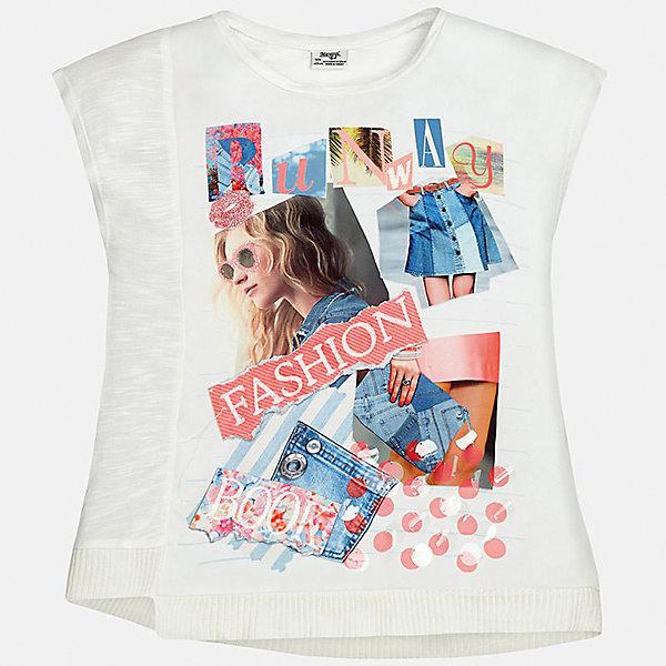Футболка для девочки MayoralФутболки, поло и топы<br>Характеристики товара:<br><br>• цвет: молочный<br>• состав: 100% хлопок<br>• декорирована принтом<br>• короткие рукава<br>• округлый горловой вырез<br>• страна бренда: Испания<br><br>Стильная качественная футболка для девочки поможет разнообразить гардероб ребенка и украсить наряд. Она отлично сочетается и с юбками, и с шортами, и с брюками. Универсальный цвет позволяет подобрать к вещи низ практически любой расцветки. Интересная отделка модели делает её нарядной и оригинальной. В составе ткани - только натуральный хлопок, гипоаллергенный, приятный на ощупь, дышащий.<br><br>Одежда, обувь и аксессуары от испанского бренда Mayoral полюбились детям и взрослым по всему миру. Модели этой марки - стильные и удобные. Для их производства используются только безопасные, качественные материалы и фурнитура. Порадуйте ребенка модными и красивыми вещами от Mayoral! <br><br>Футболку для девочки от испанского бренда Mayoral (Майорал) можно купить в нашем интернет-магазине.<br>Ширина мм: 199; Глубина мм: 10; Высота мм: 161; Вес г: 151; Цвет: розовый; Возраст от месяцев: 84; Возраст до месяцев: 96; Пол: Женский; Возраст: Детский; Размер: 128/134,170,164,158,152,140; SKU: 5292519;