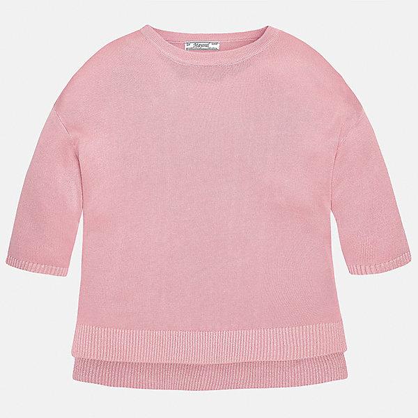 Свитер для девочки MayoralСвитера и кардиганы<br>Характеристики товара:<br><br>• цвет: розовый<br>• состав: 99% вискоза, 1% металлизированная нить<br>• рукава короткие, 3/4<br>• горловой вырез округлый<br>• отделка краев<br>• страна бренда: Испания<br><br>Удобный и красивый свитер для девочки поможет разнообразить гардероб ребенка и украсить наряд. Он отлично сочетается и с юбками, и с брюками. Универсальный цвет позволяет подобрать к вещи низ различных расцветок. Интересная отделка модели делает её нарядной и оригинальной. <br><br>Одежда, обувь и аксессуары от испанского бренда Mayoral полюбились детям и взрослым по всему миру. Модели этой марки - стильные и удобные. Для их производства используются только безопасные, качественные материалы и фурнитура. Порадуйте ребенка модными и красивыми вещами от Mayoral! <br><br>Свитер для девочки от испанского бренда Mayoral (Майорал) можно купить в нашем интернет-магазине.<br>Ширина мм: 190; Глубина мм: 74; Высота мм: 229; Вес г: 236; Цвет: розовый; Возраст от месяцев: 84; Возраст до месяцев: 96; Пол: Женский; Возраст: Детский; Размер: 128/134,164,158,152,140; SKU: 5292749;