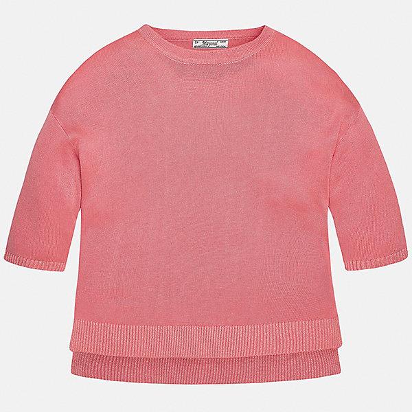 Свитер для девочки MayoralТолстовки<br>Характеристики товара:<br><br>• цвет: белый<br>• состав: 99% вискоза, 1% металлизированная нить<br>• рукава короткие, 3/4<br>• горловой вырез округлый<br>• отделка краев<br>• страна бренда: Испания<br><br>Удобный и красивый свитер для девочки поможет разнообразить гардероб ребенка и украсить наряд. Он отлично сочетается и с юбками, и с брюками. Универсальный цвет позволяет подобрать к вещи низ различных расцветок. Интересная отделка модели делает её нарядной и оригинальной. <br><br>Одежда, обувь и аксессуары от испанского бренда Mayoral полюбились детям и взрослым по всему миру. Модели этой марки - стильные и удобные. Для их производства используются только безопасные, качественные материалы и фурнитура. Порадуйте ребенка модными и красивыми вещами от Mayoral! <br><br>Свитер для девочки от испанского бренда Mayoral (Майорал) можно купить в нашем интернет-магазине.<br>Ширина мм: 190; Глубина мм: 74; Высота мм: 229; Вес г: 236; Цвет: оранжевый; Возраст от месяцев: 84; Возраст до месяцев: 96; Пол: Женский; Возраст: Детский; Размер: 128/134,170,164,158,152,140; SKU: 5292755;