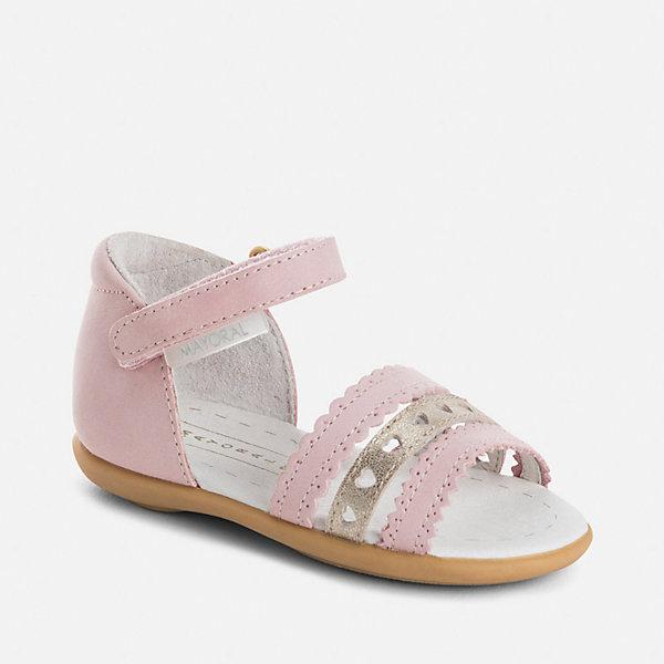 Сандалии для девочки MayoralНарядная обувь<br>Характеристики товара:<br><br>• цвет: розовый<br>• состав: верх - натуральная кожа, подкладка и стелька - натуральная кожа, подошва - резина<br>• застежка: липучка<br>• защита пятки <br>• устойчивая подошва<br>• декорированы перфорацией<br>• страна бренда: Испания<br><br>Симпатичные сандали для девочки помогут обеспечить ребенку комфорт и дополнить наряд. Сандали удобно сидят на ноге и красиво смотрятся. Отличный вариант для теплой погоды!<br><br>Сандали для девочки от испанского бренда Mayoral (Майорал) можно купить в нашем интернет-магазине.<br>Ширина мм: 219; Глубина мм: 154; Высота мм: 121; Вес г: 343; Цвет: розовый; Возраст от месяцев: 18; Возраст до месяцев: 21; Пол: Женский; Возраст: Детский; Размер: 22,25,24,23; SKU: 5293633;