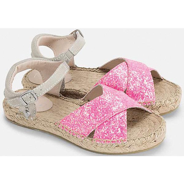 Сандалии для девочки MayoralСандалии<br>Характеристики товара:<br><br>• цвет: розовый<br>• состав: верх - кожа, полиуретан, подкладка и стелька - кожа, полимер, подошва - резина<br>• застежка: пряжка<br>• стильный дизайн<br>• устойчивая подошва<br>• декорированы блестками<br>• страна бренда: Испания<br><br>Симпатичные туфли для девочки помогут обеспечить ребенку комфорт и дополнить наряд. Туфли удобно сидят на ноге и красиво смотрятся. Отличный вариант для теплой погоды!<br><br>Туфли для девочки от испанского бренда Mayoral (Майорал) можно купить в нашем интернет-магазине.<br>Ширина мм: 227; Глубина мм: 145; Высота мм: 124; Вес г: 325; Цвет: лиловый; Возраст от месяцев: 48; Возраст до месяцев: 60; Пол: Женский; Возраст: Детский; Размер: 28,26,38,37,36,35,34,33,32,31,30,29,27; SKU: 5293864;