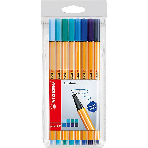 STABILO Набор капиллярных ручек Stabilo Point оттенки синего, 8 цветов