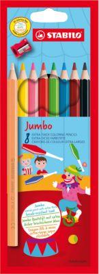 Цветные карандаши с точилкой Stabilo  Jumbo  8 цветов, утолщённые, артикул:5295516 - Рисование и раскрашивание
