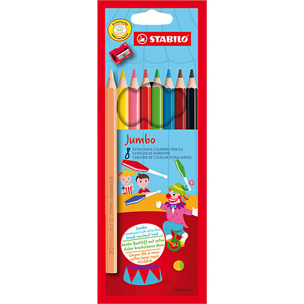 STABILO Цветные карандаши с точилкой Stabilo Jumbo 8 цветов, утолщённые erichkrause двухцветные треугольные карандаши jumbo c точилкой