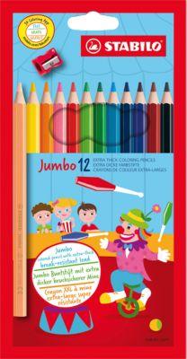Цветные карандаши с точилкой Stabilo  Jumbo  12 цветов, утолщённые, артикул:5295517 - Рисование и раскрашивание