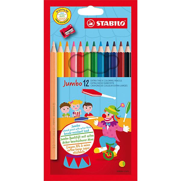 """STABILO Цветные карандаши с точилкой Stabilo """"Jumbo"""" 12 цветов, утолщённые"""