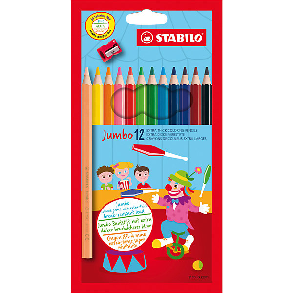 STABILO Цветные карандаши с точилкой Stabilo Jumbo 12 цветов, утолщённые карандаши цветные be be 12 цветов с точилкой 466500
