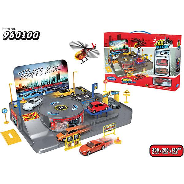 Welly Игровой набор Гараж, 3 машины и вертолет, Welly welly набор машинок пожарная служба 3 шт
