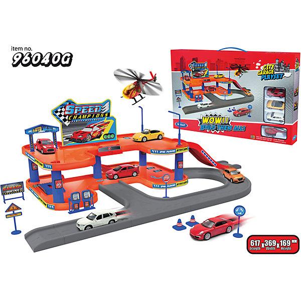 Welly Игровой набор Гараж, 4 машины и вертолет, Welly welly welly набор служба спасения пожарная команда 4 штуки