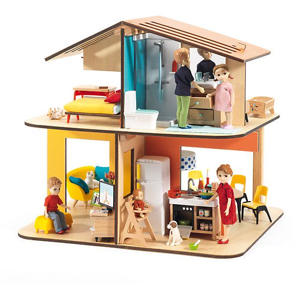Современный дом для кукол, DJECOДомики для кукол<br>Современный дом для кукол, DJECO (ДЖЕКО).<br><br>Характеристики:<br><br>- Размер домика в собранном виде: 33,5x31,5x32 см.<br>- Внимание! В набор входят только детали для сборки домика. Фигурки приобретаются отдельно<br>- Материал: древесина, пластик<br>- Набор продается в яркой подарочной коробке<br>- Размер упаковки: 35х33х5 см.<br><br>Современный дом для кукол от французского производителя развивающих игрушек Djeco (Джеко) станет прекрасной основой для увлекательных сюжетных игр с куклами. Набор представляет собой конструктор из нескольких деталей. С помощью деталей ребенок сможет собрать двухэтажный кукольный дом, который содержит несколько комнаток. В комнатах ребенок будет самостоятельно придумывать интерьер, и создавать различные игровые ситуации. В процессе такой игры у ребенка будет прекрасно развиваться фантазия и воображение, усидчивость и внимание к деталям. Ребенок сможет в игровой форме попробовать различные социальные роли. Французская компания Джеко производит развивающие игрушки и игры для детей, а также наборы для творчества и детали интерьера детской комнаты. Все товары Джеко отличаются высочайшим качеством, необычной идеей исполнения. Изображения и дизайн специально разрабатываются молодыми французскими художниками.<br><br>Современный дом для кукол, DJECO (ДЖЕКО) можно купить в нашем интернет-магазине.<br>Ширина мм: 335; Глубина мм: 315; Высота мм: 320; Вес г: 1000; Возраст от месяцев: 48; Возраст до месяцев: 2147483647; Пол: Женский; Возраст: Детский; SKU: 5299147;