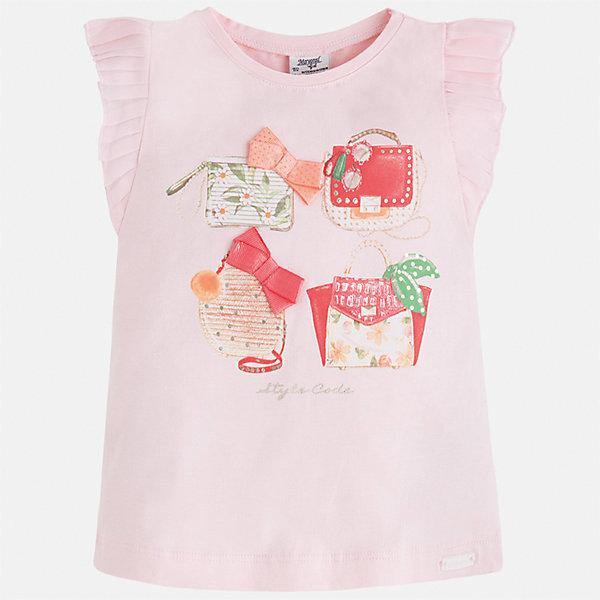 Футболка для девочки MayoralФутболки, поло и топы<br>Характеристики товара:<br><br>• цвет: розовый<br>• состав: 95% хлопок, 5% эластан<br>• эластичный материал<br>• декорирована принтом<br>• короткие рукава<br>• фактурные плечи<br>• округлый горловой вырез<br>• страна бренда: Испания<br><br>Модная качественная футболка для девочки поможет разнообразить гардероб ребенка и украсить наряд. Она отлично сочетается и с юбками, и с шортами, и с брюками. Универсальный цвет позволяет подобрать к вещи низ практически любой расцветки. Интересная отделка модели делает её нарядной и оригинальной. В составе материала есть натуральный хлопок, гипоаллергенный, приятный на ощупь, дышащий.<br><br>Одежда, обувь и аксессуары от испанского бренда Mayoral полюбились детям и взрослым по всему миру. Модели этой марки - стильные и удобные. Для их производства используются только безопасные, качественные материалы и фурнитура. Порадуйте ребенка модными и красивыми вещами от Mayoral! <br><br>Футболку для девочки от испанского бренда Mayoral (Майорал) можно купить в нашем интернет-магазине.<br>Ширина мм: 199; Глубина мм: 10; Высота мм: 161; Вес г: 151; Цвет: белый; Возраст от месяцев: 18; Возраст до месяцев: 24; Пол: Женский; Возраст: Детский; Размер: 92,134,128,122,116,110,104,98; SKU: 5300145;