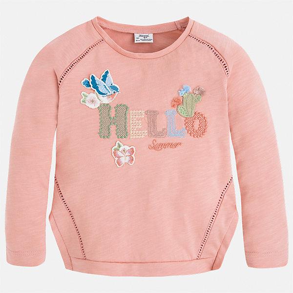 Футболка с длинным рукавом для девочки MayoralФутболки с длинным рукавом<br>Характеристики товара:<br><br>• цвет: розовый<br>• состав: 100% хлопок<br>• плотный материал<br>• декорирована вышивкой<br>• длинные рукава<br>• округлый горловой вырез<br>• страна бренда: Испания<br><br>Модная качественная футболка для девочки поможет разнообразить гардероб ребенка и украсить наряд. Она отлично сочетается и с юбками, и с брюками. Универсальный цвет позволяет подобрать к вещи низ практически любой расцветки. Интересная отделка модели делает её нарядной и оригинальной. В составе материала - только натуральный хлопок, гипоаллергенный, приятный на ощупь, дышащий.<br><br>Одежда, обувь и аксессуары от испанского бренда Mayoral полюбились детям и взрослым по всему миру. Модели этой марки - стильные и удобные. Для их производства используются только безопасные, качественные материалы и фурнитура. Порадуйте ребенка модными и красивыми вещами от Mayoral! <br><br>Футболку с длинным рукавом для девочки от испанского бренда Mayoral (Майорал) можно купить в нашем интернет-магазине.<br>Ширина мм: 230; Глубина мм: 40; Высота мм: 220; Вес г: 250; Цвет: розовый; Возраст от месяцев: 96; Возраст до месяцев: 108; Пол: Женский; Возраст: Детский; Размер: 128,92,110,134,122,116,104,98; SKU: 5300318;