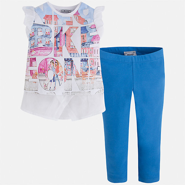 Комплект: футболка с длинным рукавом и леггинсы для девочки MayoralКомплекты<br>Характеристики товара:<br><br>• цвет: белый/голубой<br>• состав: 76% хлопок, 20% полиэстер, 4% эластан<br>• комплектация: футболка, леггинсы<br>• футболка декорирована принтом и оборками<br>• леггинсы однотонные<br>• пояс на резинке<br>• страна бренда: Испания<br><br>Красивый качественный комплект для девочки поможет разнообразить гардероб ребенка и удобно одеться в теплую погоду. Он отлично сочетается с другими предметами. Универсальный цвет позволяет подобрать к вещам верхнюю одежду практически любой расцветки. Интересная отделка модели делает её нарядной и оригинальной. В составе материала - натуральный хлопок, гипоаллергенный, приятный на ощупь, дышащий.<br><br>Одежда, обувь и аксессуары от испанского бренда Mayoral полюбились детям и взрослым по всему миру. Модели этой марки - стильные и удобные. Для их производства используются только безопасные, качественные материалы и фурнитура. Порадуйте ребенка модными и красивыми вещами от Mayoral! <br><br>Комплект для девочки от испанского бренда Mayoral (Майорал) можно купить в нашем интернет-магазине.<br>Ширина мм: 123; Глубина мм: 10; Высота мм: 149; Вес г: 209; Цвет: синий; Возраст от месяцев: 24; Возраст до месяцев: 36; Пол: Женский; Возраст: Детский; Размер: 98,134,128,122,116,110,104,92; SKU: 5300488;