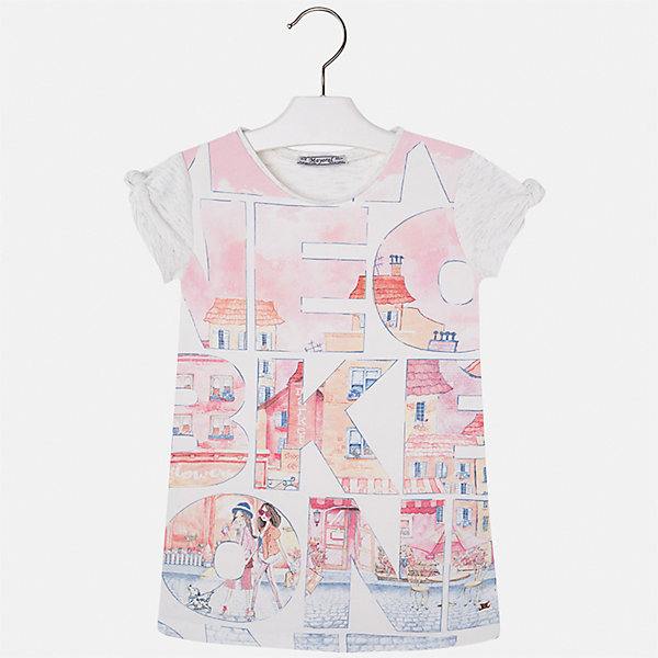 Платье для девочки MayoralЛетние платья и сарафаны<br>Характеристики товара:<br><br>• цвет: бело-розовый<br>• состав: 43% хлопок, 28% вискоза, 25% полиэстер, 4% эластан<br>• без застежки<br>• прямой силуэт<br>• короткие рукава<br>• декорировано принтом<br>• страна бренда: Испания<br><br>Стильное платье для девочки поможет разнообразить гардероб ребенка и создать эффектный наряд. Оно подойдет для различных случаев. Красивый оттенок позволяет подобрать к вещи обувь разных расцветок. Платье хорошо сидит по фигуре. В составе материала - натуральный хлопок, гипоаллергенный, приятный на ощупь, дышащий.<br><br>Одежда, обувь и аксессуары от испанского бренда Mayoral полюбились детям и взрослым по всему миру. Модели этой марки - стильные и удобные. Для их производства используются только безопасные, качественные материалы и фурнитура. Порадуйте ребенка модными и красивыми вещами от Mayoral! <br><br>Платье для девочки от испанского бренда Mayoral (Майорал) можно купить в нашем интернет-магазине.<br>Ширина мм: 236; Глубина мм: 16; Высота мм: 184; Вес г: 177; Цвет: розовый; Возраст от месяцев: 18; Возраст до месяцев: 24; Пол: Женский; Возраст: Детский; Размер: 92,134,128,122,116,110,104,98; SKU: 5300578;