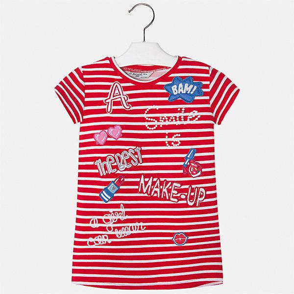Платье для девочки MayoralПлатья и сарафаны<br>Характеристики товара:<br><br>• цвет: красный<br>• состав: 95% полиэстер, 5% эластан<br>• без застежки<br>• прямой силуэт<br>• короткие рукава<br>• декорировано принтом<br>• страна бренда: Испания<br><br>Стильное платье для девочки поможет разнообразить гардероб ребенка и создать эффектный наряд. Оно подойдет для различных случаев. Красивый оттенок позволяет подобрать к вещи обувь разных расцветок. Платье хорошо сидит по фигуре. <br><br>Одежда, обувь и аксессуары от испанского бренда Mayoral полюбились детям и взрослым по всему миру. Модели этой марки - стильные и удобные. Для их производства используются только безопасные, качественные материалы и фурнитура. Порадуйте ребенка модными и красивыми вещами от Mayoral! <br><br>Платье для девочки от испанского бренда Mayoral (Майорал) можно купить в нашем интернет-магазине.<br>Ширина мм: 236; Глубина мм: 16; Высота мм: 184; Вес г: 177; Цвет: красный; Возраст от месяцев: 24; Возраст до месяцев: 36; Пол: Женский; Возраст: Детский; Размер: 98,134,128,122,116,110,104; SKU: 5300628;