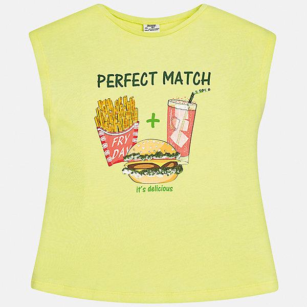 Футболка для девочки MayoralФутболки, поло и топы<br>Характеристики товара:<br><br>• цвет: салатовый<br>• состав: 50% хлопок, 50% модал<br>• спинка присборена<br>• декорирована принтом<br>• без рукавов<br>• страна бренда: Испания<br><br>Стильная оригинальная футболка для девочки поможет разнообразить гардероб ребенка и украсить наряд. Она отлично сочетается и с юбками, и с шортами, и с брюками. Универсальный цвет позволяет подобрать к вещи низ практически любой расцветки. Интересная отделка модели делает её нарядной и оригинальной. В составе материала - натуральный хлопок, гипоаллергенный, приятный на ощупь, дышащий.<br><br>Одежда, обувь и аксессуары от испанского бренда Mayoral полюбились детям и взрослым по всему миру. Модели этой марки - стильные и удобные. Для их производства используются только безопасные, качественные материалы и фурнитура. Порадуйте ребенка модными и красивыми вещами от Mayoral! <br><br>Футболку для девочки от испанского бренда Mayoral (Майорал) можно купить в нашем интернет-магазине.<br>Ширина мм: 199; Глубина мм: 10; Высота мм: 161; Вес г: 151; Цвет: желтый; Возраст от месяцев: 144; Возраст до месяцев: 156; Пол: Женский; Возраст: Детский; Размер: 158,170,164,152,140,128/134; SKU: 5300793;