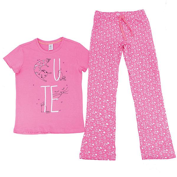 Пижама для девочки SELAПижамы и сорочки<br>Характеристики товара:<br><br>• цвет: розовый<br>• состав: 100% хлопок<br>• комплектация: футболка, брюки<br>• короткие рукава<br>• принт<br>• пояс: мягкая резинка и шнурок<br>• коллекция весна-лето 2017<br>• страна бренда: Российская Федерация<br>• страна производства: Индия<br><br>Вещи из новой коллекции SELA продолжают радовать удобством! Симпатичная пижама поможет обеспечить ребенку комфорт - она очень удобно сидит на теле. В составе материала - натуральный хлопок. Отличная одежда для комфортного сна!<br><br>Одежда, обувь и аксессуары от российского бренда SELA не зря пользуются большой популярностью у детей и взрослых! Модели этой марки - стильные и удобные, цена при этом неизменно остается доступной. Для их производства используются только безопасные, качественные материалы и фурнитура. Новая коллекция поддерживает хорошие традиции бренда! <br><br>Пижаму для девочки от популярного бренда SELA (СЕЛА) можно купить в нашем интернет-магазине.<br>Ширина мм: 281; Глубина мм: 70; Высота мм: 188; Вес г: 295; Цвет: розовый; Возраст от месяцев: 72; Возраст до месяцев: 84; Пол: Женский; Возраст: Детский; Размер: 116/122,128/134,104/110,92/98,140/146; SKU: 5302857;