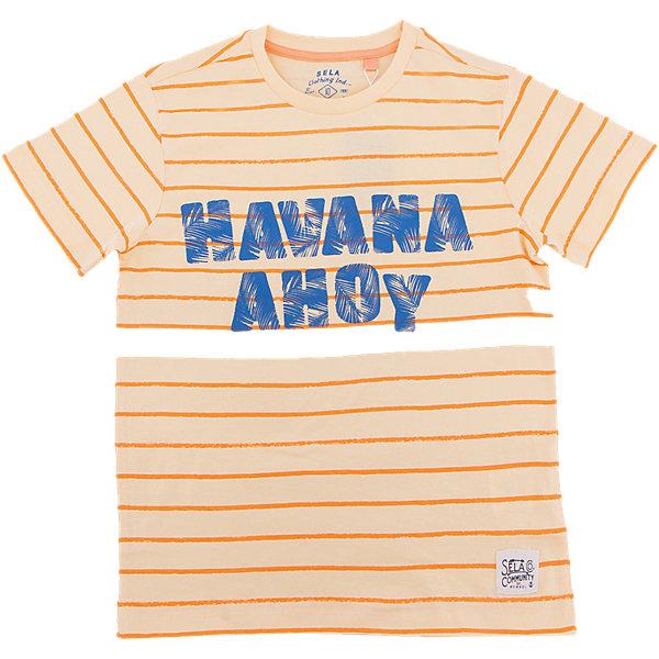 Футболка для мальчика SELAФутболки, поло и топы<br>Характеристики товара:<br><br>• состав: 100% хлопок<br>• декорирована принтом<br>• сезон: лето<br>• рукава короткие<br>• округлый горловой вырез<br>• страна бренда: Россия<br><br>Вещи из новой коллекции SELA продолжают радовать удобством! Эта футболка для мальчика поможет разнообразить гардероб ребенка и обеспечить комфорт. Она отлично сочетается с шортами и брюками. Стильная и удобная вещь!<br><br>Одежда, обувь и аксессуары от российского бренда SELA не зря пользуются большой популярностью у детей и взрослых! <br><br>Футболку для мальчика от популярного бренда SELA (СЕЛА) можно купить в нашем интернет-магазине.<br>Ширина мм: 230; Глубина мм: 40; Высота мм: 220; Вес г: 250; Цвет: желтый; Возраст от месяцев: 132; Возраст до месяцев: 144; Пол: Мужской; Возраст: Детский; Размер: 152,140,134,128,122,146; SKU: 5304190;