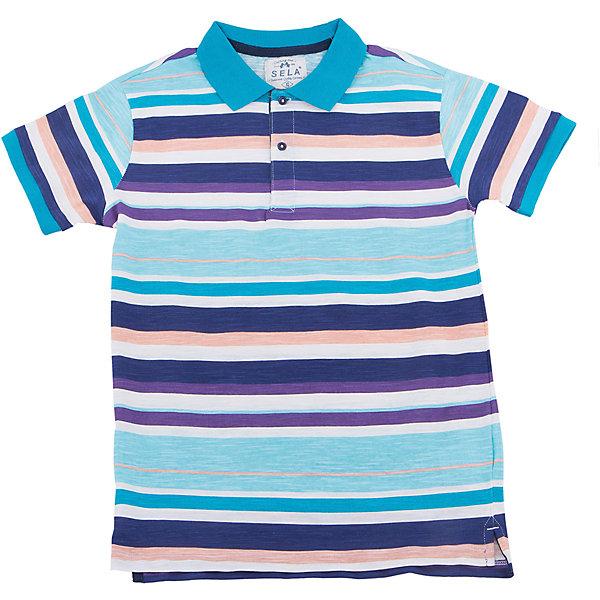 Футболка-поло для мальчика SELAФутболки, поло и топы<br>Характеристики товара:<br><br>• цвет: голубой<br>• состав: 100% хлопок<br>• сезон: лето<br>• рукава короткие<br>• округлый горловой вырез<br>• страна бренда: Россия<br><br>Вещи из новой коллекции SELA продолжают радовать удобством! Эта рубашка для мальчика поможет разнообразить гардероб ребенка и обеспечить комфорт. Она отлично сочетается с шортами и брюками. Стильная и удобная вещь!<br><br>Одежда, обувь и аксессуары от российского бренда SELA не зря пользуются большой популярностью у детей и взрослых! Модели этой марки - стильные и удобные, цена при этом неизменно остается доступной. Для их производства используются только безопасные, качественные материалы и фурнитура. Новая коллекция поддерживает хорошие традиции бренда! <br><br>Рубашку для мальчика от популярного бренда SELA (СЕЛА) можно купить в нашем интернет-магазине.<br>Ширина мм: 174; Глубина мм: 10; Высота мм: 169; Вес г: 157; Цвет: голубой; Возраст от месяцев: 120; Возраст до месяцев: 132; Пол: Мужской; Возраст: Детский; Размер: 146,140,134,128,122,152; SKU: 5304760;