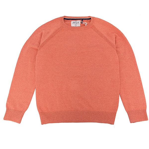 Джемпер для мальчика SELAСвитера и кардиганы<br>Джемпер для мальчика SELA (Села)<br><br>Характеристики:<br><br>• цвет: оранжевый<br>• силуэт: прямой<br>• рукав: длинный, реглан<br>• материал: 100% хлопок<br>• коллекция: весна 2017<br><br>Джемпер для мальчика от популярного бренда SELA изготовлен из качественного хлопка, приятного телу. Модель имеет прямой силуэт, длинный рукав реглан и округлый ворот. Резинка на манжетах и подоле защитит ребенка от попадания холодного воздуха. Приятная однотонная расцветка отлично подойдет к любым брюкам или джинсам.<br><br>Джемпер для мальчика SELA (Села) вы можете купить в нашем интернет-магазине.<br>Ширина мм: 190; Глубина мм: 74; Высота мм: 229; Вес г: 236; Цвет: оранжевый; Возраст от месяцев: 84; Возраст до месяцев: 96; Пол: Мужской; Возраст: Детский; Размер: 128,140,116,152; SKU: 5305682;