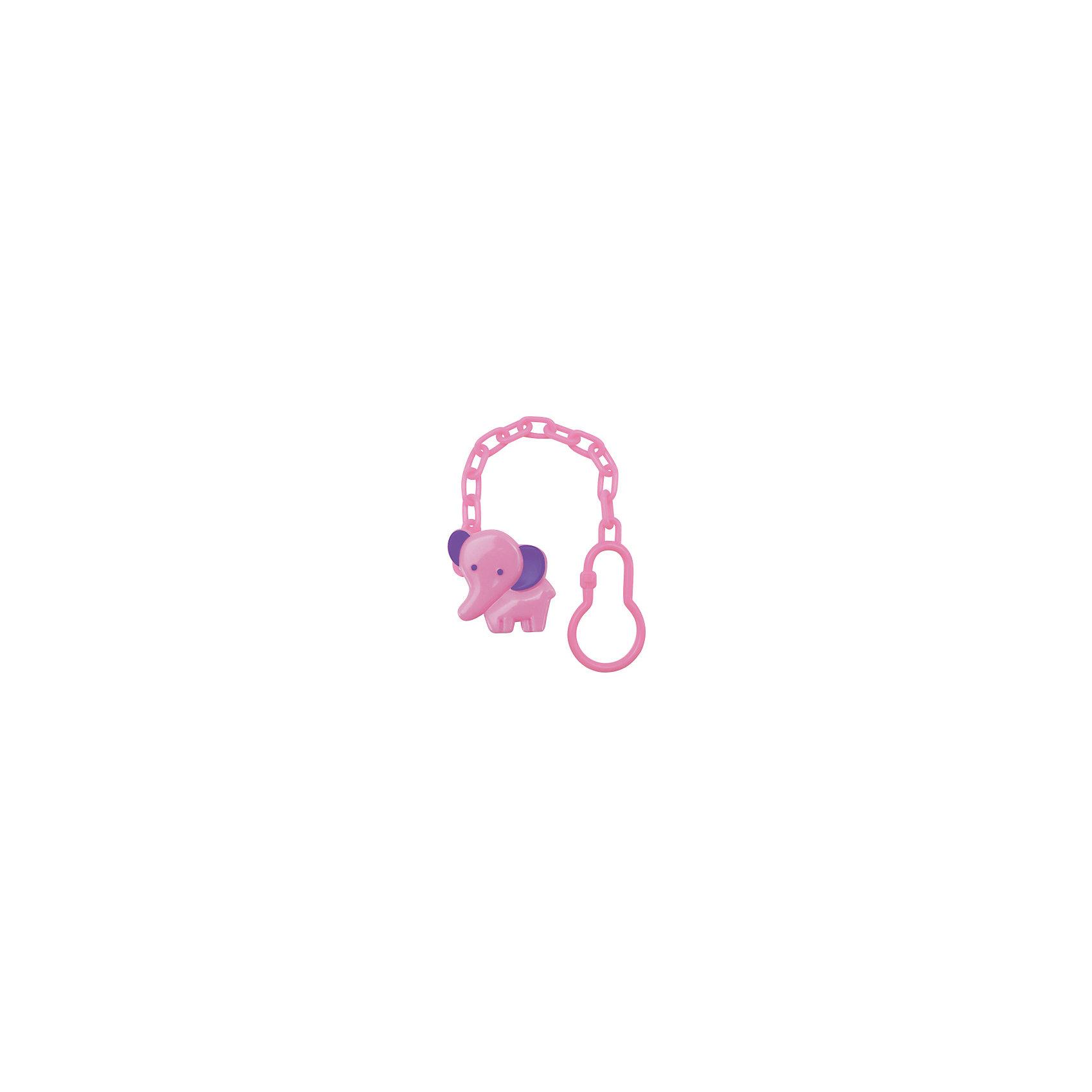 Клипса для соски-пустышки Слоник от 0 мес. полипропилен на цепочке, LUBBY, розовый
