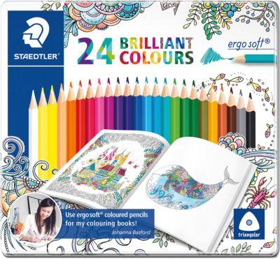 Карандаши цветные Ergosoft, 24 цвета,  Johanna Basford , Staedtler, артикул:5325142 - Рисование и раскрашивание