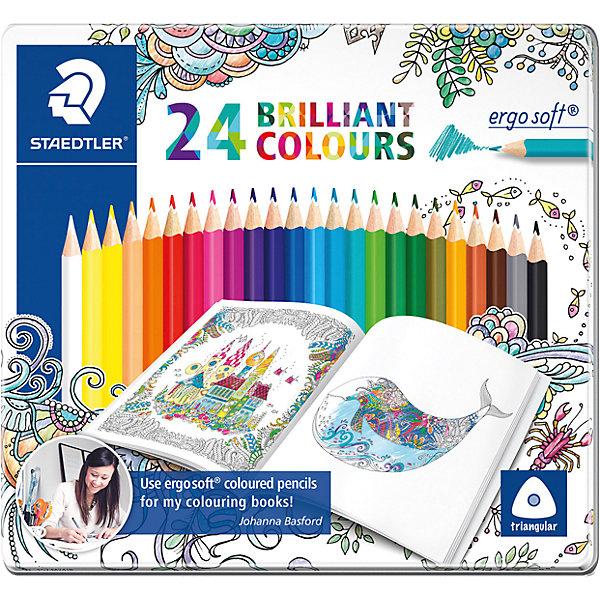 Staedtler Карандаши цветные Ergosoft, 24 цвета, Johanna Basford, Staedtler staedtler карандаши цветные ergosoft 36 цветов staedtler
