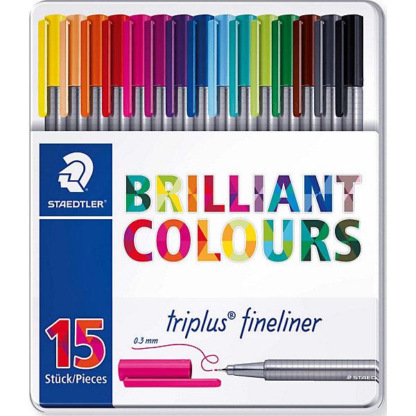 Набор капиллярных ручек Triplus, 15 цветов, StaedtlerРучки<br>Характеристики:<br><br>• возраст: от 7 лет<br>• в наборе: 15 разноцветных ручек<br>• трехгранный корпус<br>• яркие цвета<br>• цвет чернил соответствует цвету колпачка и заглушки<br>• чернила на водной основе<br>• отстирывается с большинства тканей<br>• материал корпуса: полипропилен<br>• толщина линии: 0,3 мм.<br>• упаковка: металлическая коробка с подвесом<br>• размер упаковки: 17,9х16,5х1,9 мм.<br>• вес: 263 гр.<br><br>Набор трехгранных капиллярных ручек Triplus fineliner в металлической упаковке с подвесом идеально подходит как для письма и работы с документами, так и для творчества.<br><br>Эргономичная форма обеспечивает комфортное письмо без усилий и усталости. Пишущий узел завальцованный в металл гарантирует мягкое и плавное письмо. Чернила на водной основе легко отстирывается с большинства тканей. Уникальная система позволяет оставлять ручку без колпачка на несколько дней без угрозы высыхания (тест ISO). Корпус из полипропилена и большой запас чернил гарантирует долгий срок службы.<br><br>Набор капиллярных ручек Triplus, 15 цветов, Staedtler (Штедлер) можно купить в нашем интернет-магазине.<br>Ширина мм: 182; Глубина мм: 161; Высота мм: 20; Вес г: 265; Возраст от месяцев: 96; Возраст до месяцев: 144; Пол: Унисекс; Возраст: Детский; SKU: 5325150;