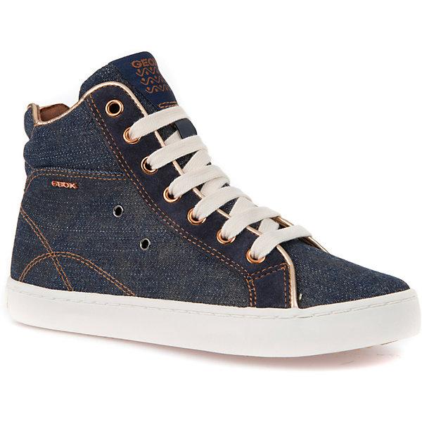 Кеды GEOXКеды<br>Характеристики товара:<br><br>• цвет: синий джинс<br>• внешний материал: текстиль, 100% хлопок<br>• внутренний материал: текстиль<br>• стелька: натуральная кожа<br>• подошва: резина<br>• высота подошвы: 1 см.<br>• застежка: шнуровка, молния<br>• комфортная посадка на ноге<br>• устойчивая подошва<br>• мембранная технология<br>• декорированы логотипом<br>• коллекция: весна-лето 2017<br>• страна бренда: Италия<br><br>Удобные симпатичные кеды помогут обеспечить ребенку комфорт и дополнить наряд. Универсальный цвет позволяет надевать их под одежду разных расцветок. Кеды удобно сидят на ноге и красиво смотрятся. Отличный вариант для прохладной погоды!<br><br>Обувь от бренда GEOX - это классический пример итальянского стиля и высокого качества, известных по всему миру. Модели этой марки - неизменно модные и комфортные. Для их производства используются только безопасные, качественные материалы и фурнитура. Отличие этой линейки обуви - мембранная технология, которая обеспечивает естественное дыхание обуви и в то же время не пропускает воду. Это особенно важно для детской обуви!<br><br>Кеды от итальянского бренда GEOX (ГЕОКС) можно купить в нашем интернет-магазине.