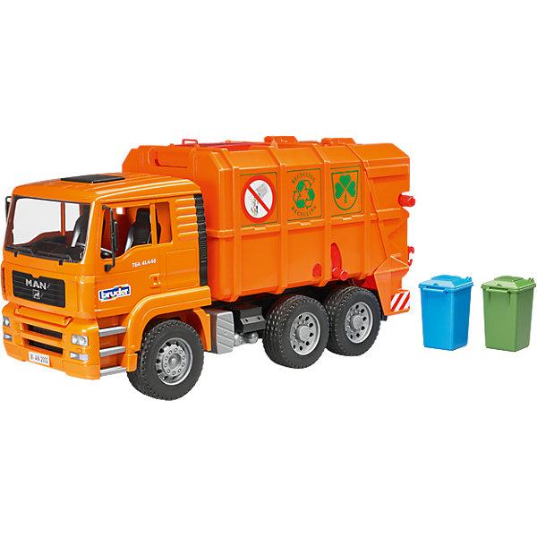 Bruder Машинка Bruder Мусоровоз MAN TGA, оранжевый bruder мусоровоз man tgs цвет зеленый желтый подходит модуль со звуком и светом h 03 764