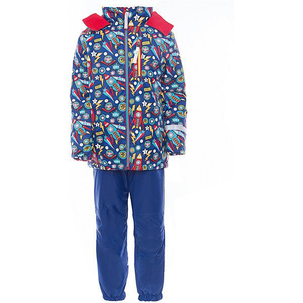 Комплект для мальчика BOOM by OrbyВерхняя одежда<br>Характеристики товара:<br><br>• цвет: синий<br>• курточка: верх - нейлон с мембранным покрытием 3000*3000, подкладка - поларфлис, полиэстер, утеплитель: FiberSoft 100 г/м2<br>• брюки: верх - нейлон с мембранным покрытием 3000*3000, подкладка - поларфлис<br>• комплектация: куртка, брюки<br>• температурный режим: от -5 С° до +10 С° <br>• эластичные регулируемые подтяжки<br>• застежка - молния<br>• куртка декорирована принтом<br>• капюшон<br>• силиконовые штрипки<br>• комфортная посадка<br>• страна производства: Российская Федерация<br>• страна бренда: Российская Федерация<br>• коллекция: весна-лето 2017<br><br>Такой комплект - универсальный вариант для межсезонья с постоянно меняющейся погодой. Эта модель - модная и удобная одновременно! Изделие отличается стильным ярким дизайном. Куртка и брюки хорошо сидят по фигуре, отлично сочетается с различной обувью. Модель была разработана специально для детей.<br><br>Одежда от российского бренда BOOM by Orby уже завоевала популярностью у многих детей и их родителей. Вещи, выпускаемые компанией, качественные, продуманные и очень удобные. Для производства коллекций используются только безопасные для детей материалы. Спешите приобрести модели из новой коллекции Весна-лето 2017! <br><br>Комплект для мальчика от бренда BOOM by Orby можно купить в нашем интернет-магазине.<br>Ширина мм: 356; Глубина мм: 10; Высота мм: 245; Вес г: 519; Цвет: синий; Возраст от месяцев: 18; Возраст до месяцев: 24; Пол: Мужской; Возраст: Детский; Размер: 92,98,104,86,80,122,116,110; SKU: 5342826;