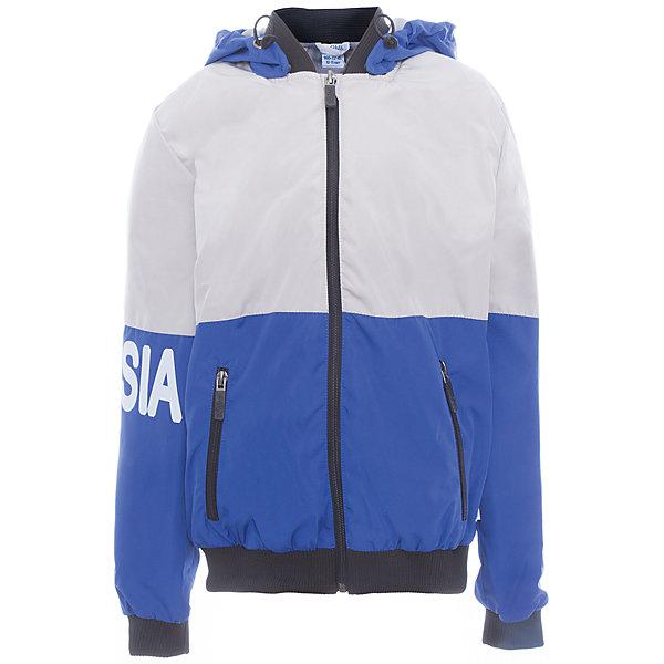 Куртка для мальчика BOOM by OrbyВерхняя одежда<br>Характеристики товара:<br><br>• цвет: синий<br>• состав: верх - Pronto pu, подкладка - полиэстер, флис, без утеплителя<br>• температурный режим: от +5°до +15°С<br>• демисезон<br>• капюшон<br>• застежка - молния<br>• эластичные манжеты<br>• принт<br>• карманы<br>• комфортная посадка<br>• страна производства: Российская Федерация<br>• страна бренда: Российская Федерация<br>• коллекция: весна-лето 2017<br><br>Такая куртка - универсальный вариант для теплого межсезонья с постоянно меняющейся погодой. Эта модель - модная и удобная одновременно! Изделие отличается стильным ярким дизайном. Куртка хорошо сидит по фигуре, отлично сочетается с различным низом. Вещь была разработана специально для детей.<br><br>Куртку для мальчика для девочки от бренда BOOM by Orby можно купить в нашем интернет-магазине.<br>Ширина мм: 356; Глубина мм: 10; Высота мм: 245; Вес г: 519; Цвет: серый; Возраст от месяцев: 120; Возраст до месяцев: 132; Пол: Мужской; Возраст: Детский; Размер: 146,104,158,152,140,134,128,122,116,98,110; SKU: 5342886;