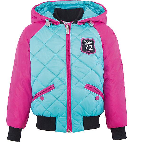 Куртка для девочки BOOM by OrbyВерхняя одежда<br>Характеристики товара:<br><br>• цвет: голубой/розовый<br>• ткань верха: Таффета oil cire PU стеганная; Таффета oil cire PU<br>• подкладка: Поликоттон, ПЭ пуходержащий; Отделка: Вязаное полотно.<br>• наполнитель: Flexy Fiber - это искусственный аналог лебяжьего пуха<br>• температурный режим: от 0 С° до +10 С° <br>• капюшон (отстегивающийся)<br>• карманы на кнопке<br>• застежка - молния<br>• эластичные манжеты<br>• стеганая<br>• декорирована нашивками<br>• комфортная посадка<br>• страна производства: Российская Федерация<br>• страна бренда: Российская Федерация<br>• коллекция: весна-лето 2017<br><br>Куртка-бомбер - универсальный вариант для межсезонья с постоянно меняющейся погодой. Эта модель - модная и удобная одновременно! Изделие отличается стильным ярким дизайном. Куртка хорошо сидит по фигуре, отлично сочетается с различным низом. Вещь была разработана специально для детей.<br><br>Одежда от российского бренда BOOM by Orby уже завоевала популярностью у многих детей и их родителей. Вещи, выпускаемые компанией, качественные, продуманные и очень удобные. Для производства коллекций используются только безопасные для детей материалы. Спешите приобрести модели из новой коллекции Весна-лето 2017! <br><br>Куртку для девочки от бренда BOOM by Orby можно купить в нашем интернет-магазине.<br>Ширина мм: 356; Глубина мм: 10; Высота мм: 245; Вес г: 519; Цвет: голубой; Возраст от месяцев: 36; Возраст до месяцев: 48; Пол: Женский; Возраст: Детский; Размер: 104,170,164,158,152,146,140,134,128,122,116,110,98,92,86; SKU: 5343197;