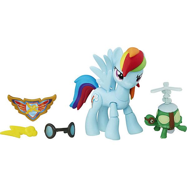 Фигурка Хранители Гармонии -Рейнбоу Дэш, с артикуляцией, My little PonyФигурки из мультфильмов<br>Фигурка Хранители Гармонии, Рейнбоу Дэш, с артикуляцией, My little Pony (Моя маленькая Пони). <br><br>Характеристика:<br><br>• Материал: пластик.   <br>• Размер упаковки: 20,3х15,2х5 см.<br>• Прекрасная детализация. <br>• Комплектация: фигурка, аксессуары (очки, аэро-черепаха), значок.<br>• 9 точек артикуляции: подвижные ноги и голова. <br><br>Фигурка серии Guardians of Harmony приведет в восторг всех поклонниц My Little Pony (Май литл Пони). Радуга Дэш - смелая сильная, гордая и верная пони, она не раз помогала своим друзьям в сложных ситуация. Фигурка пони отлично детализирована, реалистично раскрашена и очень похожа на своего мульт-прототипа. Игрушка имеет 9 точек артикуляции, может принимать различные позы, дополнена оригинальными съемными аксессуарами. Собери все фигурки серии Хранители гармонии и придумай свои оригинальные истории из жизни любимых лошадок! <br><br>Фигурку Хранители Гармонии, Рейнбоу Дэш, с артикуляцией, My little Pony (Моя маленькая Пони), можно купить в нашем интернет-магазине.<br>Ширина мм: 51; Глубина мм: 203; Высота мм: 165; Вес г: 171; Возраст от месяцев: 48; Возраст до месяцев: 120; Пол: Женский; Возраст: Детский; SKU: 5344312;