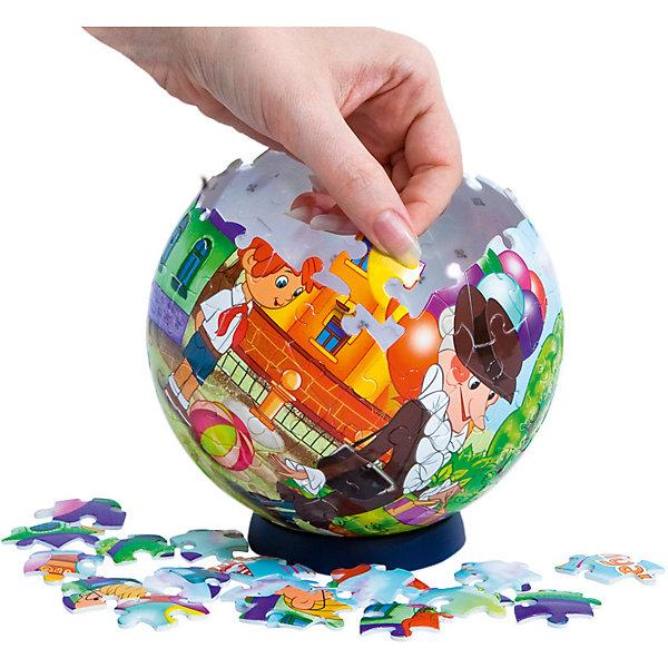 Пазл-шар Чебурашка, 108 деталейПазл - шар<br>Характеристики товара:<br><br>• возраст: от 6 лет;<br>• материал: пластик;<br>• в комплекте: 108 элементов, подставка;<br>• диаметр шара: 14 см;<br>• размер упаковки: 23х21,5х5 см;<br>• вес упаковки: 330 гр.;<br>• страна производитель: Россия.<br><br>Пазл-шар «Чебурашка» Step Puzzle — оригинальный пазл, элементы которого имеют изогнутую форму и собираются вместе, образуя шар. Собрав его, получается объемная фигура с изображениями персонажей мультфильма.<br><br>В процессе сборки пазла развиваются мелкая моторика рук, усидчивость, внимательность, логическое мышление. Все детали выполнены из качественного прочного пластика и надежно скрепляются между собой.<br><br>Пазл-шар «Чебурашка» Step Puzzle можно приобрести в нашем интернет-магазине.<br>Ширина мм: 230; Глубина мм: 215; Высота мм: 50; Вес г: 330; Возраст от месяцев: 72; Возраст до месяцев: 2147483647; Пол: Унисекс; Возраст: Детский; Количество деталей: 108; SKU: 5346218;