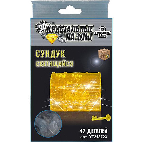 Кристаллический пазл-cветильник 3D Сундук L3D пазлы<br>Характеристики товара:<br><br>• возраст: от 14 лет;<br>• материал: пластик;<br>• в комплекте: 47 элементов, инструкция;<br>• тип батареек: батарейки L736;<br>• наличие батареек: демонстрационные в комплекте;<br>• размер упаковки: 16х10х4 см;<br>• вес упаковки: 200 гр.;<br>• страна производитель: Китай.<br><br>Кристаллический 3D пазл-светильник «Сундук» Educational Line позволит собрать объемную фигурку из пластиковых деталей пазла. Все детали прочно соединяются между собой и крепко держатся. Готовая модель оснащена светящимся элементом и может использоваться в качестве оригинального светильника в детской комнате. В процессе сборки пазла развиваются мелкая моторика рук, усидчивость, внимательность, логическое мышление. <br><br>Кристаллический 3D пазл-светильник «Сундук» Educational Line можно приобрести в нашем интернет-магазине.<br>Ширина мм: 13; Глубина мм: 18; Высота мм: 4; Вес г: 128; Возраст от месяцев: 168; Возраст до месяцев: 2147483647; Пол: Унисекс; Возраст: Детский; Количество деталей: 47; SKU: 5362954;