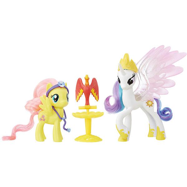 Пони-модницы парочки, My little Pony, Принцесса Селестия и Флаттершай B9160/B9849Игрушки<br>Характеристики:<br><br>• Вид игр: сюжетно-ролевые, коллекционирование<br>• Пол: для девочек<br>• Коллекция: My little Pony<br>• Материал: пластик<br>• Высота фигурки: 7,5 см<br>• Комплектация: две фигурки пони, птица Филамина, стойка для птицы, медицинские аксессуары<br>• Вес в упаковке: 290 г<br>• Размеры упаковки (Г*Ш*В): 27*7,5*24 см<br>• Упаковка: блистер на картонной подложке<br><br>Пони-модницы парочки: Принцесса Селестия и Флаттершай, My little Pony, B9160/B9849 – это новая коллекция бренда My little Pony от Хасбро. В коллекции представлены фигурки семейные пары с малышом-пони и аксессуарами для ухода за ним. В комплекте предусмотрена аксессуары и инструменты для ролевой игры: фигурки принцессы Селестии и Флаттершай, которые ухаживают за больной птицей Филаминой. Фигурки и аксессуары выполнены из экологически безопасного и прочного пластика, который устойчив к физическим и механическим повреждениям, окрашены нетоксичными яркими красками, которые не изменяют свой цвет даже при длительной эксплуатации. Игры с такими фигурками будут способствовать развитию фантазии и воображения. Пони-модницы парочки: Принцесса Селестия и Флаттершай, My little Pony, B9160/B9849 – это замечательный подарок для девочки к любому празднику!<br><br>Пони-модниц парочки: Принцесса Селестия и Флаттершай, My little Pony, B9160/B9849 можно купить в нашем интернет-магазине.<br>Ширина мм: 67; Глубина мм: 254; Высота мм: 235; Вес г: 363; Цвет: желтый/белый; Возраст от месяцев: 36; Возраст до месяцев: 120; Пол: Женский; Возраст: Детский; SKU: 5363520;