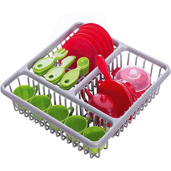 Набор посуды с сушилкой, HTIДетские кухни<br>Набор посуды с сушилкой, HTI.<br><br>Характеристика: <br><br>• Материал: пластик. <br>• Размер упаковки: 29х11х28 см. <br>• Комплектация: 5 ножей, 5 вилочек, 5 ложечек , 5 тарелок, 5 кружек, сковорода, кастрюля, шумовка, чайник, сушилка. <br>• Яркий привлекательный дизайн. <br><br>Набор посуды с сушилкой понравится вашей юной хозяйке и станет прекрасным дополнением в сюжетно-ролевых играх девочки. Игрушки изготовлены из высококачественного прочного пластика безопасного для детей. <br><br>Набор посуды с сушилкой, HTI, можно купить в нашем интернет-магазине.<br>Ширина мм: 290; Глубина мм: 280; Высота мм: 95; Вес г: 526; Возраст от месяцев: 36; Возраст до месяцев: 168; Пол: Женский; Возраст: Детский; SKU: 5366523;