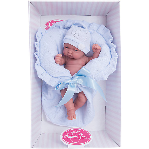 Кукла-младенец Леон в голубом, 26 см, Munecas Antonio JuanИспанские куклы<br>Характеристики товара:<br><br>• возраст: от 3 лет;<br>• материал: винил, текстиль;<br>• в комплекте: кукла, одежда, одеяло;<br>• высота куклы: 26 см;<br>• размер упаковки: 30х17х12 см;<br>• вес упаковки: 640 гр.;<br>• страна производитель: Испания.<br><br>Кукла-младенец Леон в голубом Munecas Antonio Juan — очаровательный малыш с выразительными глазками и пухлыми щечками. Кукла одета в шапочку и трусики. В комплекте вязаное одеяло, укутав в которое пупса, он будет сладко спать.<br><br>У куклы подвижные ручки и ножки. Игра с куклой привьет девочке чувство заботы, помощи, ответственности и любви. Кукла выполнена из качественных безопасных материалов.<br><br>Куклу-младенца Леон в голубом Munecas Antonio Juan можно приобрести в нашем интернет-магазине.<br>Ширина мм: 315; Глубина мм: 105; Высота мм: 180; Вес г: 1260; Возраст от месяцев: 36; Возраст до месяцев: 2147483647; Пол: Женский; Возраст: Детский; SKU: 5367049;
