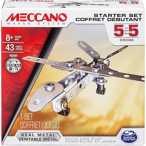 Базовая модель Дрон, MeccanoСамолёты и вертолёты<br>Характеристики товара:<br><br>• возраст: от 8 лет;<br>• материал: металл;<br>• в комплекте: 43 элемента, 2 инструмента, инструкция;<br>• размер упаковки: 12,5х12,5х4,5 см;<br>• вес упаковки: 160 гр.;<br>• страна производитель: Китай.<br><br>Базовая модель «Дрон» Meccano — конструктор из металлических деталей. При помощи инструментов из деталей собирается объемная модель. <br><br>В процессе ребенок знакомится с принципами сборки конструктора, у него развивается мелкая моторика рук, усидчивость, логическое мышление, интеллект.<br><br>Базовую модель «Дрон» Meccano можно приобрести в нашем интернет-магазине.<br>Ширина мм: 130; Глубина мм: 130; Высота мм: 40; Вес г: 143; Возраст от месяцев: 96; Возраст до месяцев: 2147483647; Пол: Мужской; Возраст: Детский; SKU: 5377746;