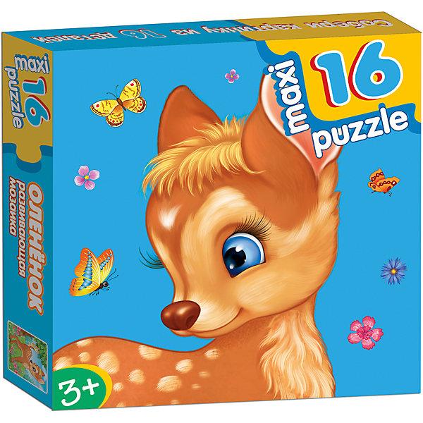 Развивающая мозаика Олененок, Дрофа-МедиаПазлы для малышей<br>Характеристики развивающей мозаики Олененок:<br><br>- возраст: от 3 лет<br>- пол: для мальчиков и девочек<br>- количество деталей: 16.<br>- материал: картон.<br>- размер упаковки: 16.5 * 16.5 * 3 см.<br>- размер игрушки: 31 * 33 см.<br>- упаковка: картонная коробка.<br>- бренд: Дрофа-Медиа<br>- страна обладатель бренда: Россия.<br><br>Развивающая мозаика Олененок - макси-пазл для самых маленьких. Чтобы собрать картинку целиком, малышу нужно правильно подбирать элементы пазла. Когда все деталь мозаики соединятся между собой, получится красивое изображение олененка. Макси-пазлы направлены на развитие внимательности, усидчивости и памяти у малышей. Ребенок научится самостоятельно складывать изображение из нескольких деталей, подбирая недостающий фрагмент изображения.<br><br>Развивающую мозаику Олененок издательства Дрофа-Медиа можно купить в нашем интернет-магазине.<br>Ширина мм: 165; Глубина мм: 30; Высота мм: 165; Вес г: 170; Возраст от месяцев: 36; Возраст до месяцев: 2147483647; Пол: Унисекс; Возраст: Детский; SKU: 5386297;