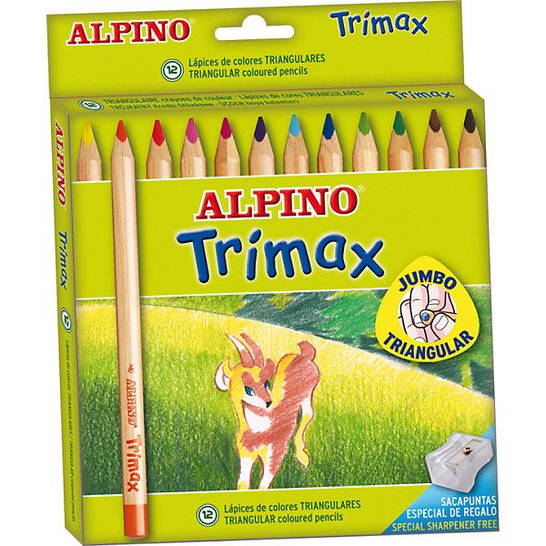 Купить Цветные утолщенные трехгранные карандаши Trimax, 12 цв. + специальная точилка, ALPINO, Испания, Унисекс