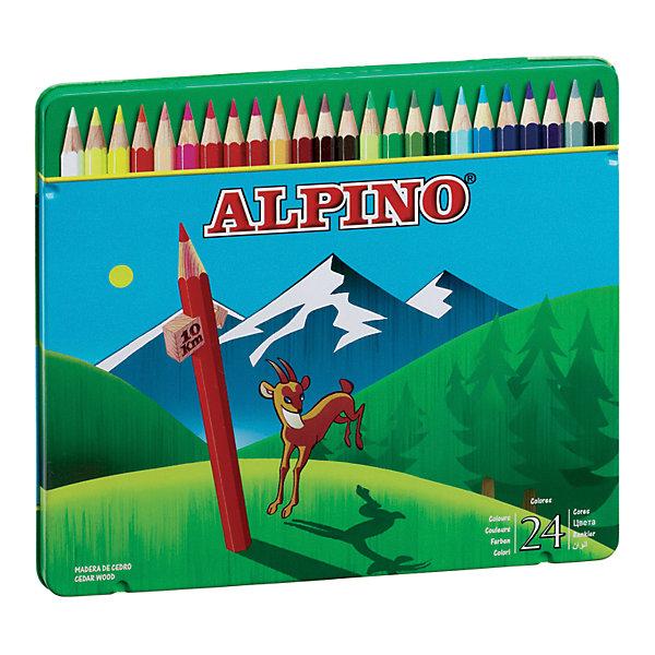 ALPINO Цветные шестигранные карандаши, 24 цв. alpino розовый 12 150 гр