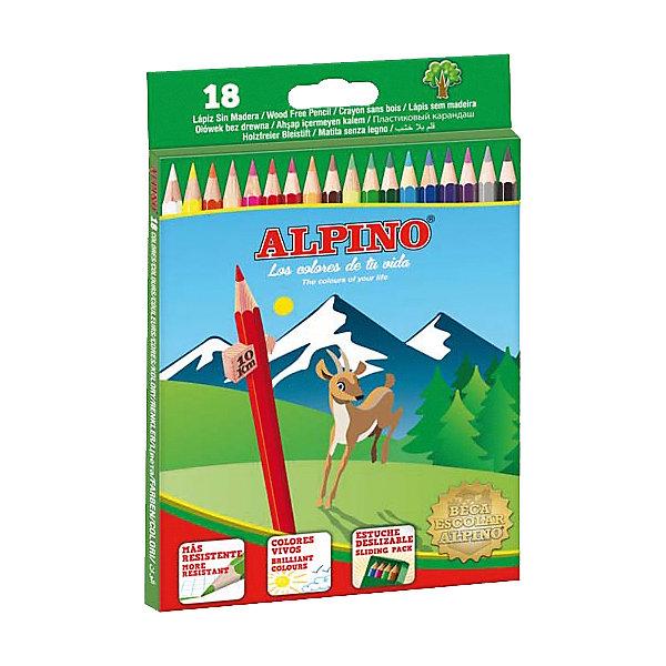 ALPINO Цветные шестигранные карандаши, 18 цв.